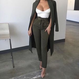 """""""Celine"""" Olive Tie Waist Trousers--PreOrder Only"""